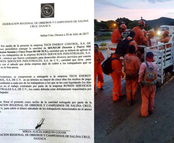 Liquidan a 22 obreros en Salina Cruz