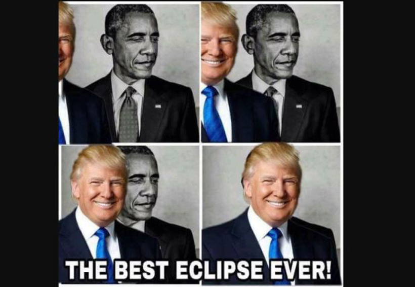 Trump eclipsa a Obama en un meme
