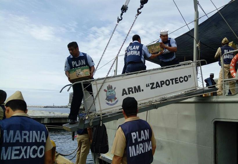 Llega por barco más ayuda para el Istmo de Oaxaca