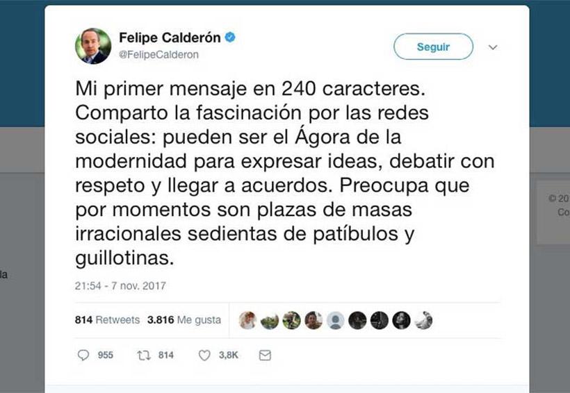 Calderón tuiteó la 'fascinación' de los '240 caracteres'… ¡y son 280! | El Imparcial de Oaxaca