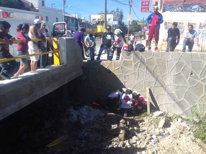 Cae de barda en el puente de Santa Lucía del Camino | El Imparcial de Oaxaca
