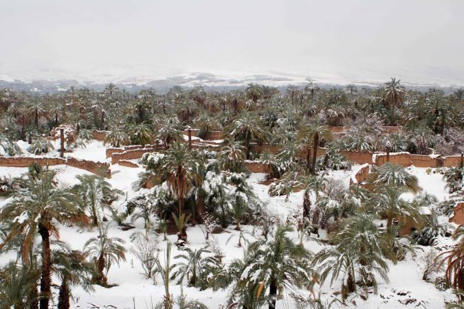Nevadas inesperadas en el desierto de Marruecos | El Imparcial de Oaxaca