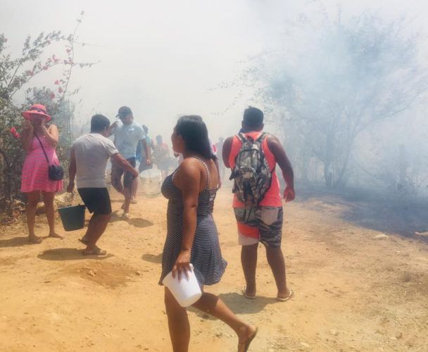 Provocan incendios  en San Pedro Pochutla, Oaxaca