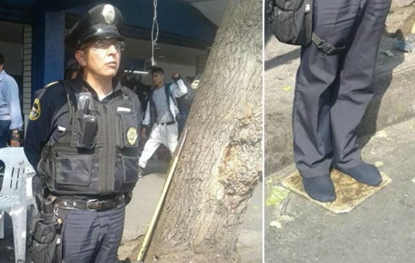 Viral imagen de policía mexicano trabajando en calcetines | El Imparcial de Oaxaca