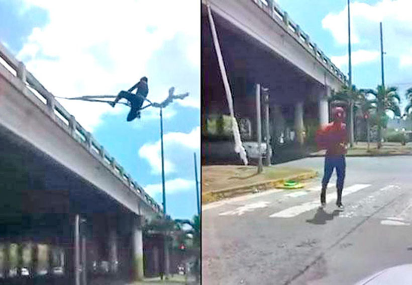 Video: Captan a Spiderman haciendo acrobacias en puente de Panamá | El Imparcial de Oaxaca