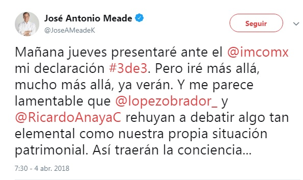 Meade presentará mañana su declaración 3de3 | El Imparcial de Oaxaca