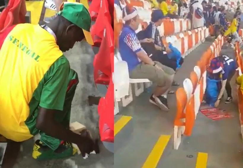 Video: Aficionados levantan basura en estadios mundialistas; no, no son mexicanos | El Imparcial de Oaxaca