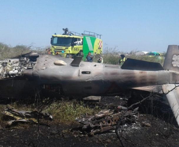 Se desploma avión militar en Ixtepec, Oaxaca