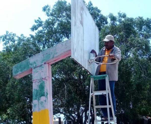 Trabaja Gobierno de Salina Cruz en mejoramiento de espacios deportivos
