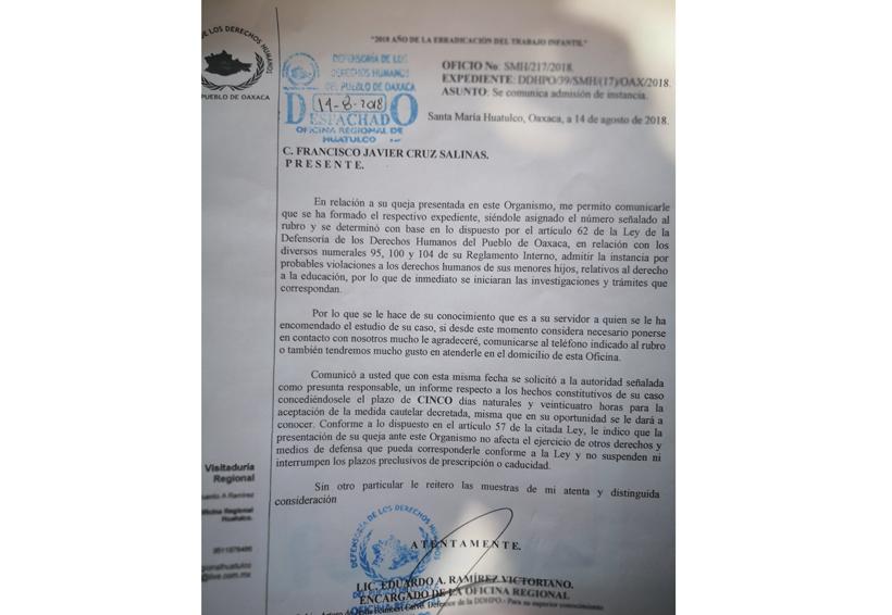 En Pochutla, piden a derechos humanos garantizar educación a menores