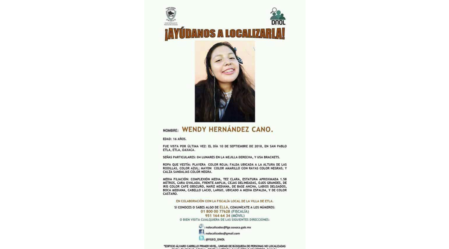Buscan a adolescente desaparecida en San Pablo Etla | El Imparcial de Oaxaca