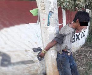 Amarran a hombre por presunto robo y casi lo linchan en Xoxo