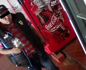 Videograban a ladrón de negocio en la Colonia Reforma