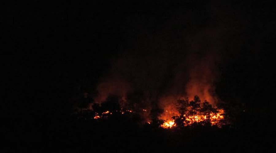 Se suscita incendio en El Mirador, Huautepec