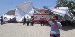 Vientos y fuerte oleaje en las playas de Salina Cruz