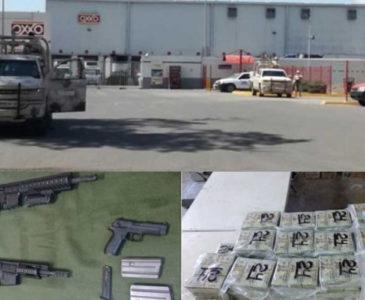Aseguran 1.3 mdd y armas en Oxxo de Ciudad Obregón