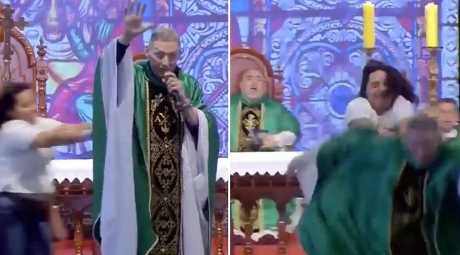Video: mujer empuja a sacerdote en plena misa | El Imparcial de Oaxaca