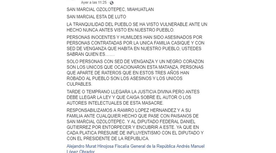 Implican a legislador y otros, de ataque armado en San Marcial Ozolotepec