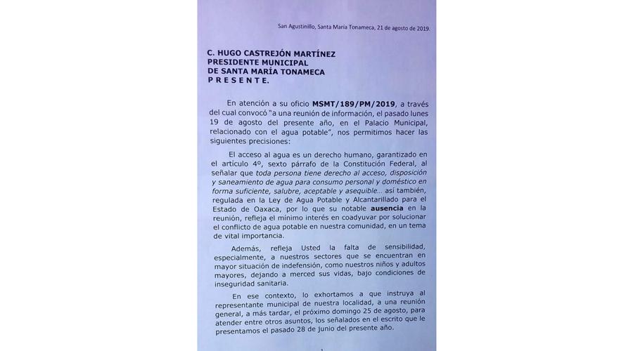 San Agustinillo reclama servicio de agua potable
