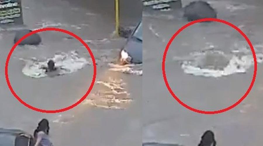 """Video : joven es """"tragada"""" por alcantarilla en inundación; inician su búsqueda   El Imparcial de Oaxaca"""