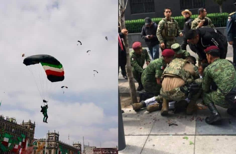 Video: Paracaidista sufre aparatoso accidente durante desfile | El Imparcial de Oaxaca