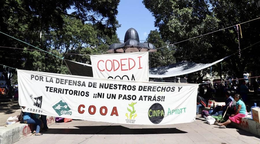 Codedi instala plantón en el Zócalo