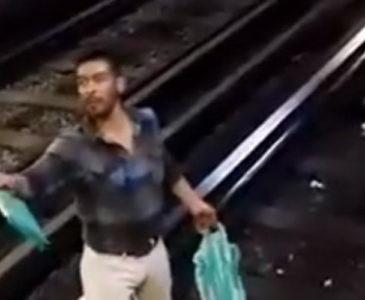 Video: Detienen a borracho por aventar a policía a las vías del Metro
