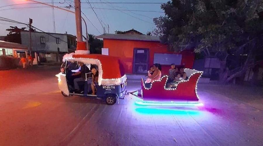 Moto-trineo recorre calles de Juchitán