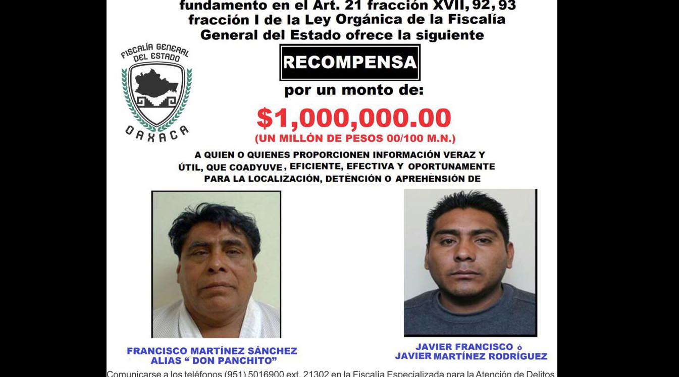 "Ofrece Fiscalía de Oaxaca recompensa de un millón de pesos por ""Don Panchito"" | El Imparcial de Oaxaca"