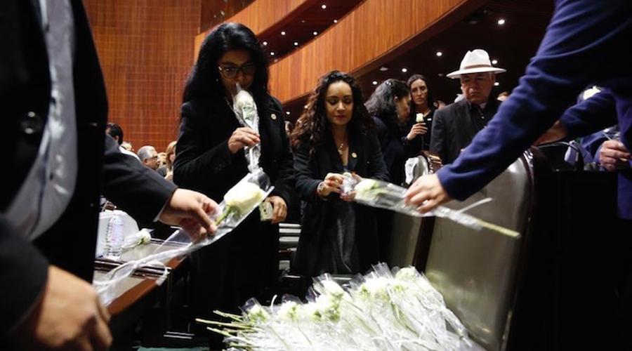 Diputados dejan rosas blancas en la curul de Carmen Medel, madre de Valeria, la joven asesinada en Veracruz   El Imparcial de Oaxaca