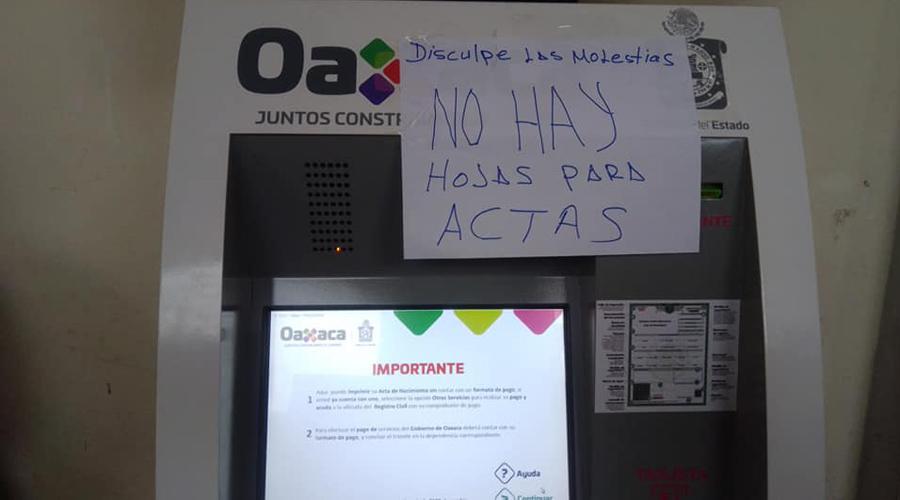 Desabasto de hojas en módulos del Registro Civil de Salina Cruz | El Imparcial de Oaxaca