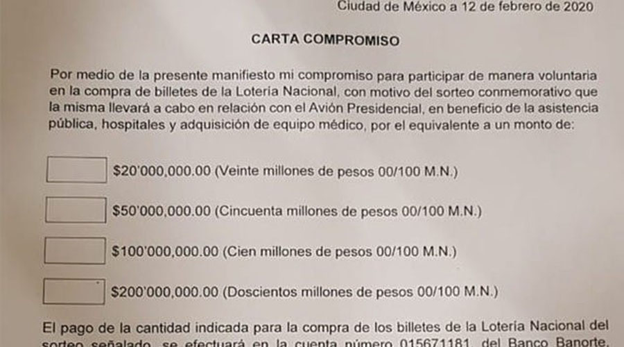 Filtran carta compromiso para compra de boletos de la rifa del avión presidencial | El Imparcial de Oaxaca