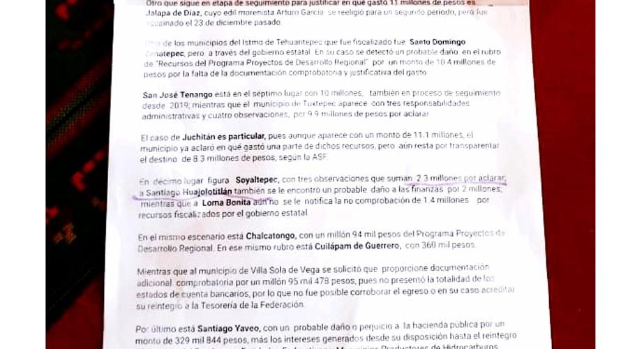 Exigen comprobar dos mdp a expresidenta de Santiago Huajolotitlán, Oaxaca