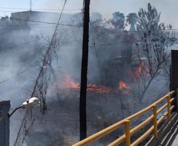 Incendian terreno baldío en el cerro de El Fortín