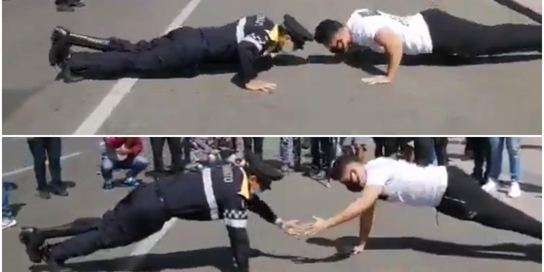 Video: Manifestante reta a policía con discapacidad en reto de lagartijas | El Imparcial de Oaxaca