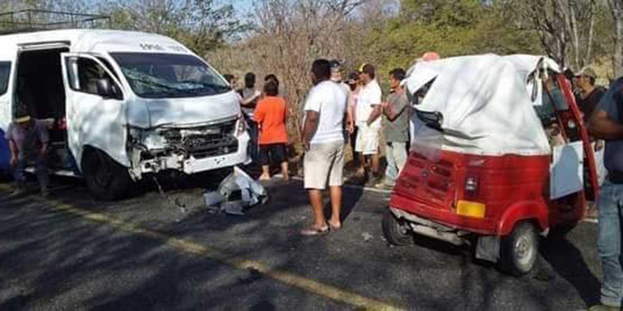 Choque en la Costera entre urvan y mototaxi deja tres lesionados | El Imparcial de Oaxaca