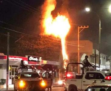 Arde palapa en Tuxtepec
