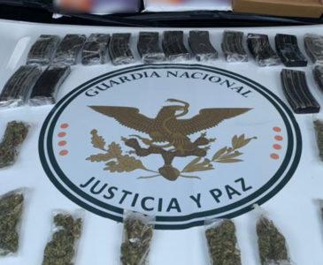 Guardia Nacional decomisa cargadores de arma y droga en Matías Romero