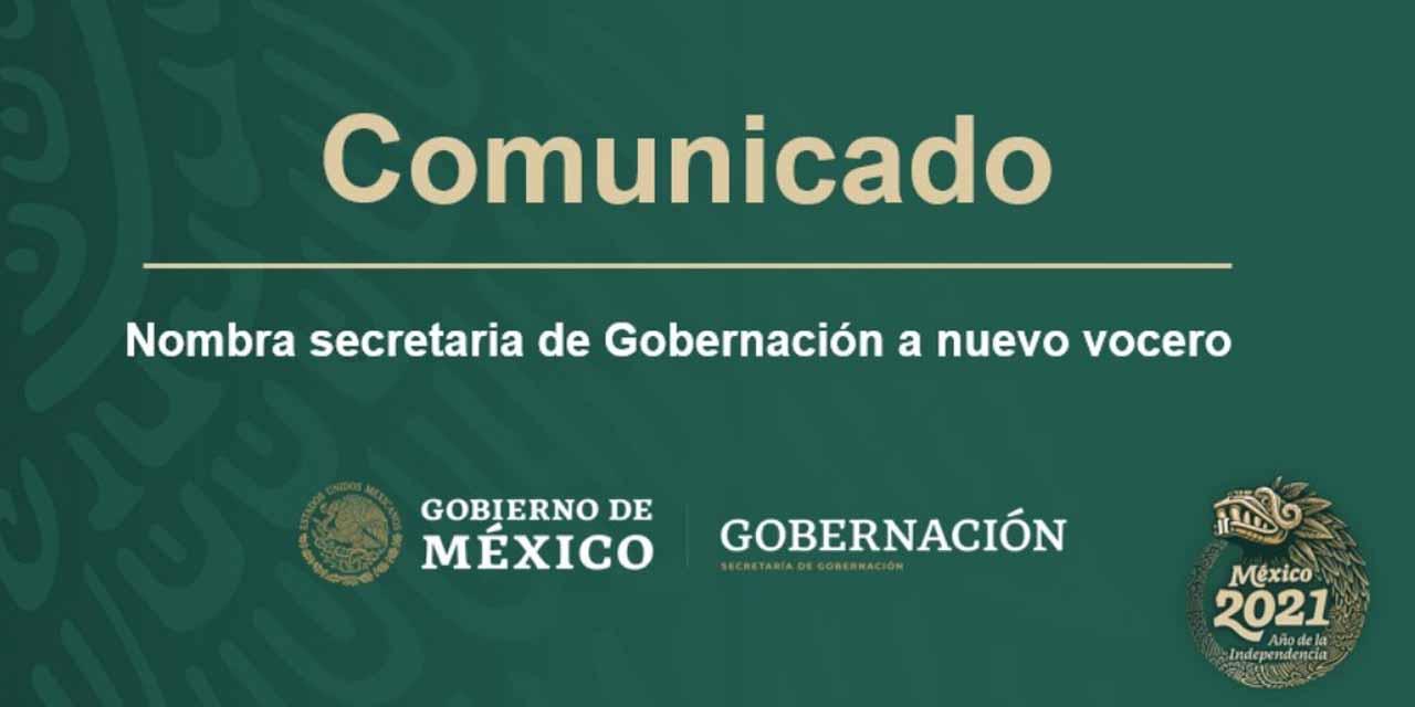 Nombra secretaria de Gobernación a nuevo vocero | El Imparcial de Oaxaca
