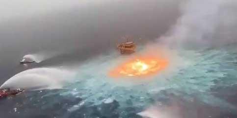 Video: Así se vio la impresionante explosión tras fuga en un ducto marino de Pemex   El Imparcial de Oaxaca