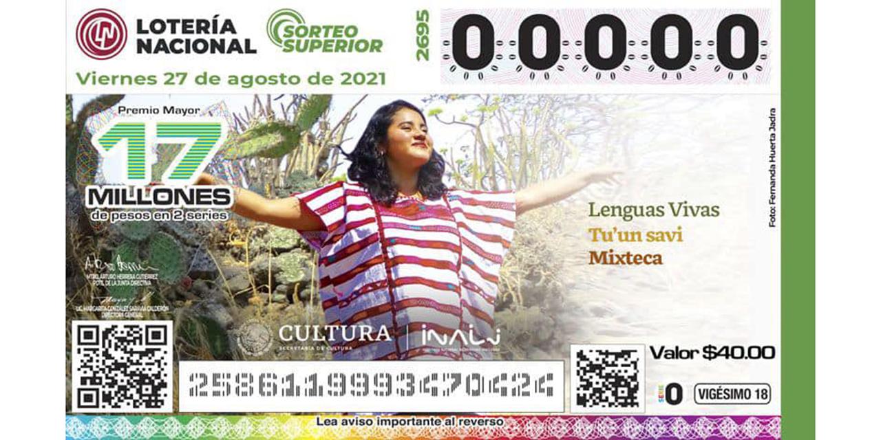 Nadia López, imagen de billete de Lotería   El Imparcial de Oaxaca