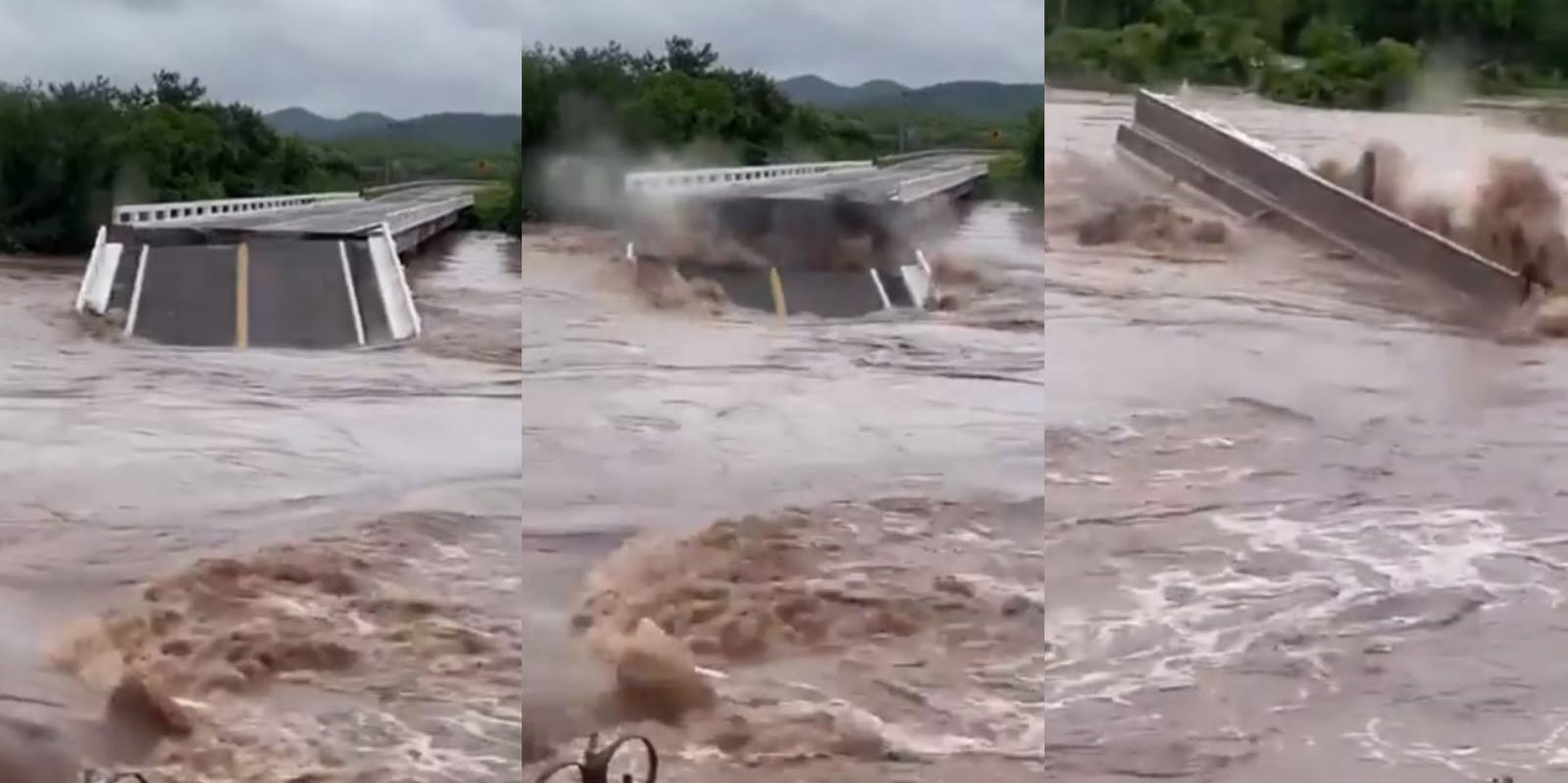Captan el momento exacto en el que crecida de río derrumba puente en Sinaloa   El Imparcial de Oaxaca