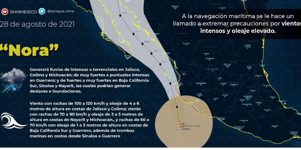 'Nora' cambia su trayectoria y podría estar tocando tierra en Sonora el próximo miércoles   El Imparcial de Oaxaca