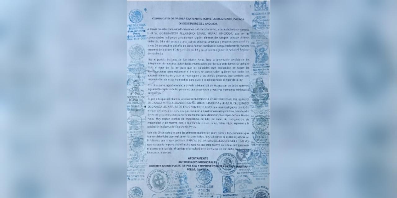 Exige autoridad de Peras a Peimbert castigo a homicidas de tesorero y síndico municipal | El Imparcial de Oaxaca