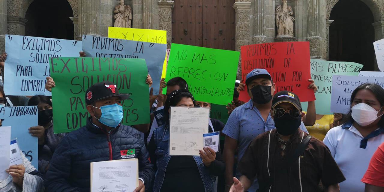 Comerciantes en vía pública protestan en el Centro Histórico de Oaxaca | El Imparcial de Oaxaca