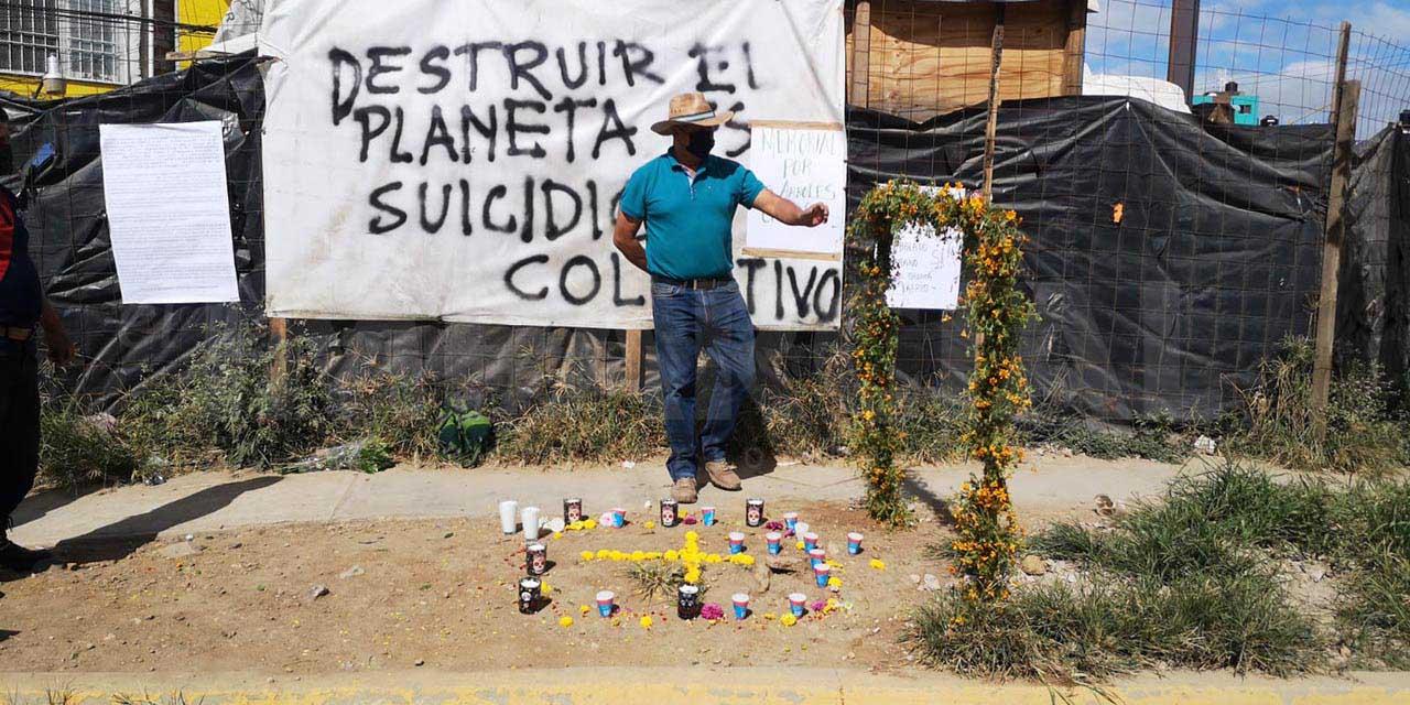 Por derribo de árboles, ambientalistas colocan altar en las obras del Citybus   El Imparcial de Oaxaca